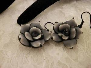 Handmade Polymar Clay Rose Grey & Black Dangle Earrings