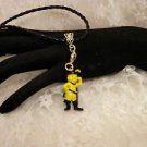 Shrek Puss and Boots Cat 3 D resin Charm Pendant Black Cord Necklace