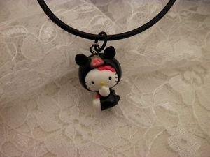 Resin Hello Kitty Pig 3D Sanrio Charm Black Corded Bail Pendant Necklace