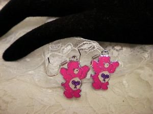 Metal Care Bear Dark Pink Enamel Surgical Steel Dangle Earrings
