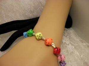 Handmade AWARENESS Colorful Rainbow Gay Pride Dice Beaded Bracelet Jewelry