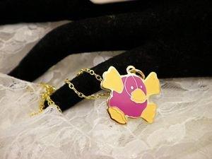 """RARE"" TY Beannie Platipuss Golden Charm Necklace Kids Jewelry"