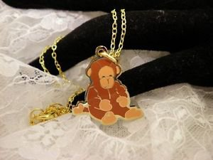 """RARE"" TY Beannie Brown MONKEY Golden Charm Necklace Kids Jewelry"