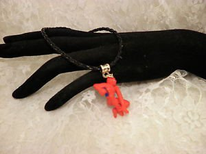 Red Comic Book Spider Man 3 D Charm Pendant Black Corded Necklace