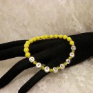 Handmade Bright Yellow Awareness Diabetic ID Alert Beaded Bracelet Or Your Name