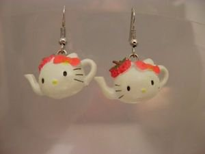 Resin Hello Kitty Tea Cup 3 D Surgical Steel Dangle Earrings Sanrio