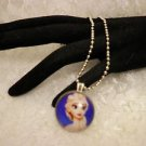 "Frozen ""Elsa"" Character 1"" Glass Cabochon Silver Framed Pendant Necklace"