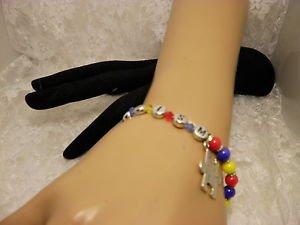 Handmade AUTISM Awareness Glass Crystal Beaded Alert Bracelet Support