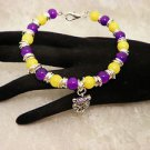 Football College LSU Beaded Bangle Silver Tiger Charmed Bracelet