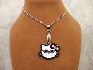 Metal Rhinestone Charm Hello Kitty Cats Silver Bail Chain Pendant Necklace