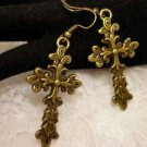 Metal Bronze Celtic Cross Big Religious Charm Earrings