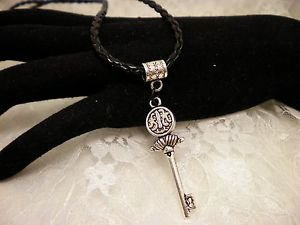Steam Punk Style Silver Key Charm Necklace Black Cord Bail