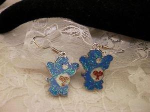 Metal Care Bears Blue Enamel Charm Surgical Steel Dangle Earrings