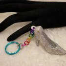 Key Chains Silver Glitter Shoe Colored Jump Rings Chained Key Holder