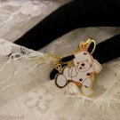 """RARE"" TY Beannie Spotted White Dog Golden Style Charm Necklace Kids Jewelry"
