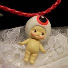 Resin 3D Charm ALIEN Kewpi Doll 3 D Pendant Cord Necklace Kids Jewelry