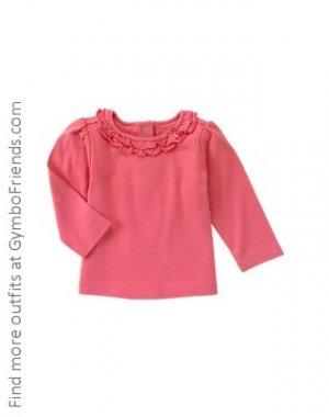 Primrose Pink Ls Ruffle Collar Tee 2T EUC
