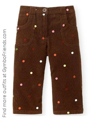 Cute As Button Brown Courdoroy pants 3-6 mo LN