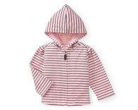 $9.00 EUC City Sidewalk Pink Hooded Velour Cardigan 3-6