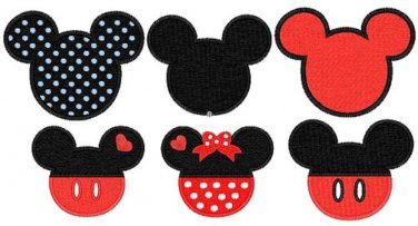 Mickey Minnie Mouse ears head 6 embroidery patterns Digitized Machine Embroidery Designs Pack