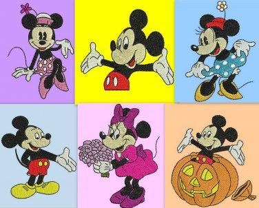 Mickey and Minnie 6 Digitized Machine Embroidery Designs  Machine Embroidery Design Pack