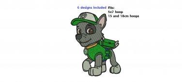 6 Paw Patrol Dog Zuma Chase Skye Rubble Marshall Rocky 5x7 SIZE Digitized Machine Embroidery Designs