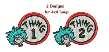 Thing 1 Thing 2 Filled Machine embroidery designs Email Delivery Only