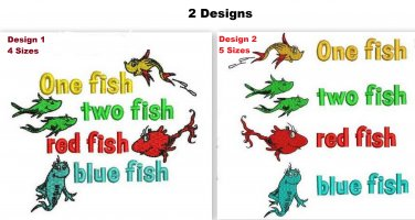 2 Designs: One Fish Two Fish Red Fish Blue Fish Dr Seuss Embroidery Designs Email Delivery Only
