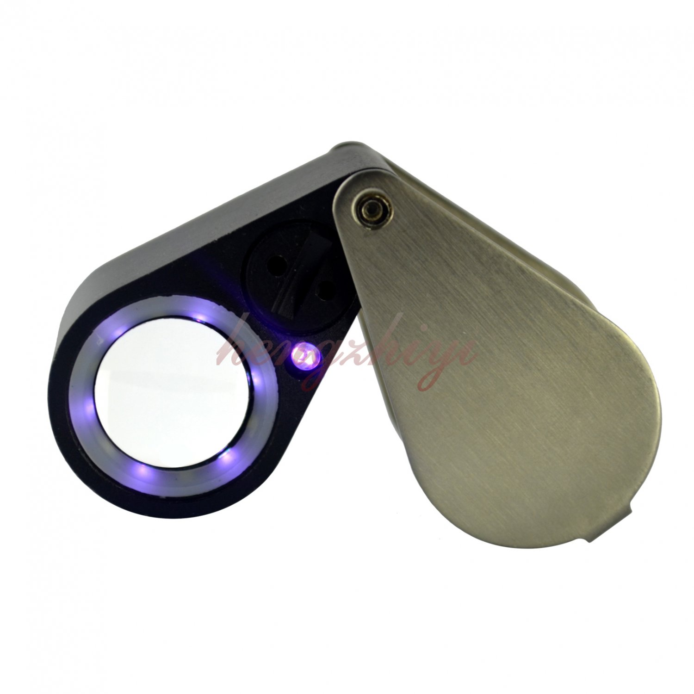 20X Diamond Gem Jewelry Loupe Magnifier + LED & UV light 21mm lens Free Leather Case, Free Shipping