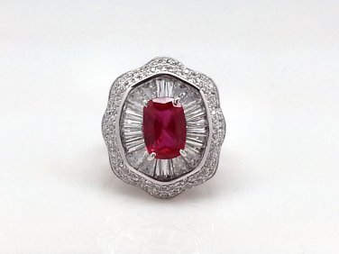 Size 6 Ruby .925 Sterling Silver Rhodium Plated Ring with CZ Baguettes and Paves