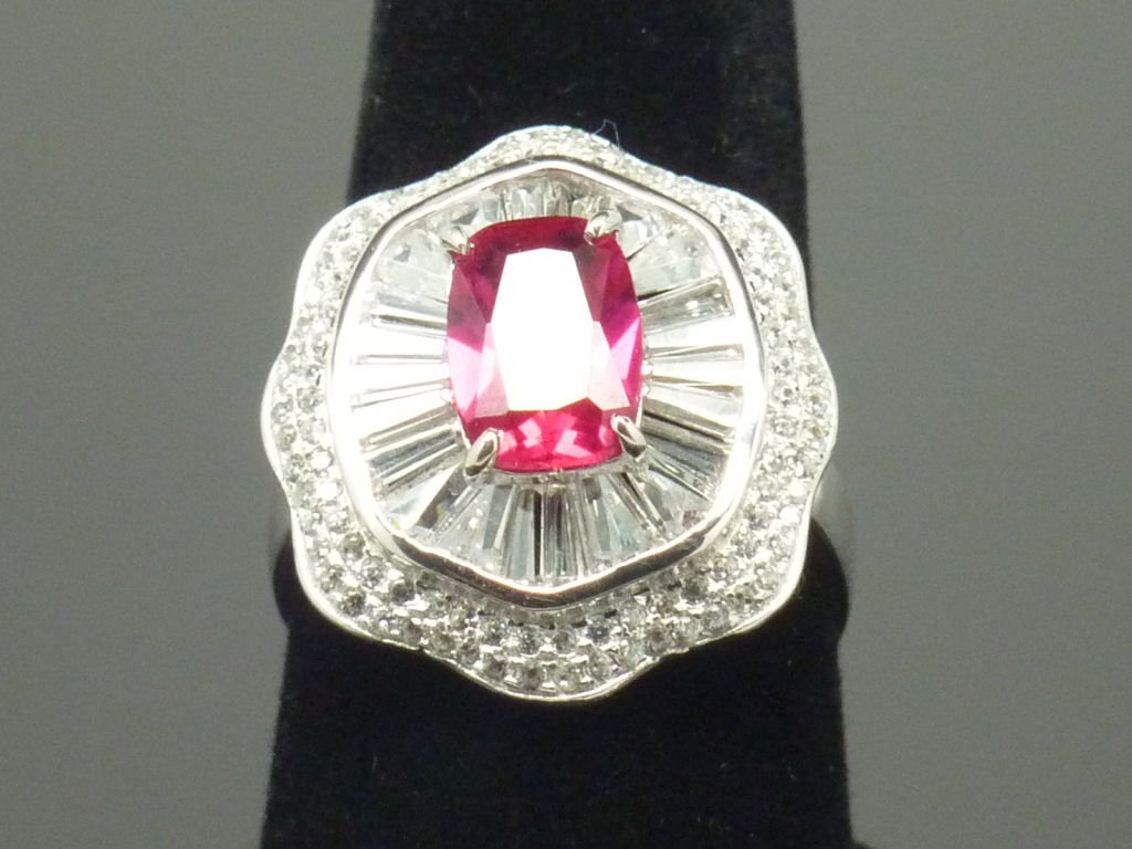Size 9 Ruby .925 Sterling Silver Rhodium Plated Ring with CZ Baguettes and Paves