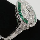 Size 6.5 - .925 Sterling Silver Antique Reproduction Ring w/CZ Center & Genuine Emeralds - RH Plated