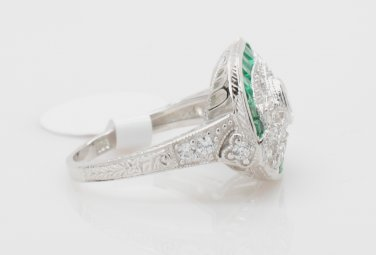 Size 7.5 - .925 Sterling Silver Antique Reproduction Ring w/CZ Center & Genuine Emeralds - RH Plated