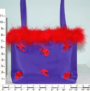 RED HAT PURSE WITH STONES AND FEATHERS