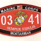 "USMC ""MORTARMAN"" 0341 MOS MILITARY PATCH SEMPER FIDELIS MARINE CORPS"