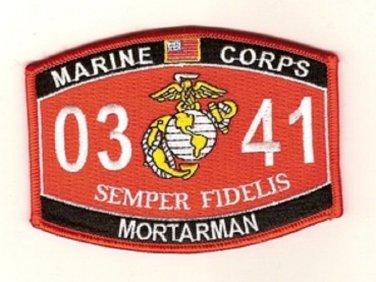 "USMC ""MORTARMAN"" 0341 MOS MILITARY PATCH SEMPER FIDELIS MARINE CORPS"