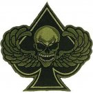 SPADES DEATH SKULL WITH WINGS MOTORCYCLE JACKET BIKER VEST MILITARY PATCH - OD