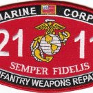 """USMC """"INFANTRY WEAPONS REPAIR"""" 2111 MOS MILITARY PATCH SEMPER FIDELIS"""