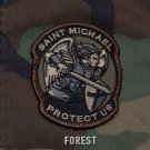 PROTECT US SAINT MICHAEL - FOREST - TACTICAL BADGE MORALE VELCRO MILITARY PATCH