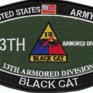 ARMY 13th ARMORED DIVISION MOS MILITARY PATCH BLACK CAT