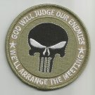 PUNISHER GOD WILL JUDGE OUR ENEMIES SKULL KHAKI COLOR MORALE MILITARY PATCH