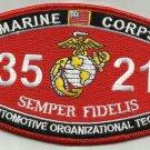 "USMC ""AUTOMOTIVE ORGANIZATIONAL TECH"" 3521 MOS MILITARY PATCH SEMPER FIDELIS"