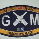 "US NAVY ""GUNNER'S MATE"" MOS RATINGS - GM - MILITARY PATACH"