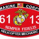 "USMC ""HELICOPTER MECHANIC"" 6113 MOS MILITARY PATCH SEMPER FIDELIS MARINE CORPS"