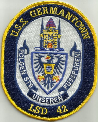 USS GERMANTOWN LSD 42 DOCK LANDING SHIP MILITARY PATCH FOLGEN STE UNSEREN