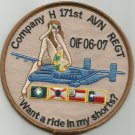 ARMY H Co 171st Aviation Regiment Military Patch WANT A RIDE IN MY SHORTS OIF 06