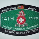 "UNITED STATES ARMY 14th FIELD ARTILLERY REGIMENT ""FA RGT"" MILITARY PATCH"