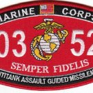 "USMC ""ANTITANK ASSAULT GUIDED MISSILEMAN"" 0352 MOS MILITARY PATCH SEMPER FIDELIS"