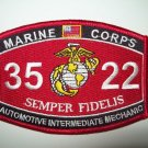 "USMC ""AUTOMOTIVE INTERMEDIATE MECHANIC"" 3522 MOS MILITARY PATCH SEMPER FIDELIS"