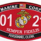 "USMC ""PERSONNEL CLERK"" 0121 MOS MILITARY PATCH SEMPER FIDELIS"